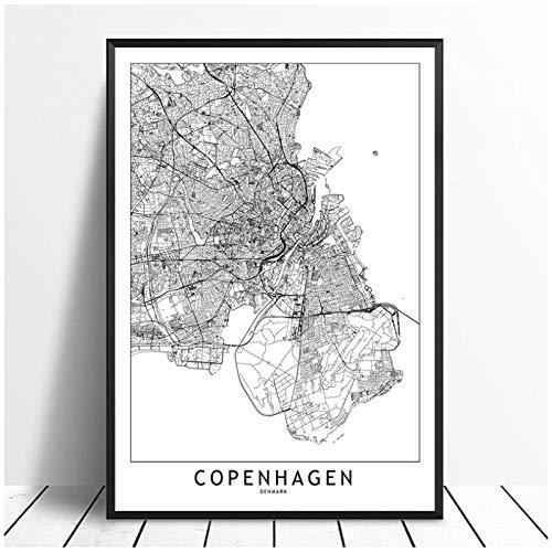 MULMF Kopenhagen schwarz weiß benutzerdefinierte Welt Stadtplan Poster Drucke nordischen Stil Wandkunst Bilder Wohnkultur Leinwand Malerei-50x70cm kein Rahmen