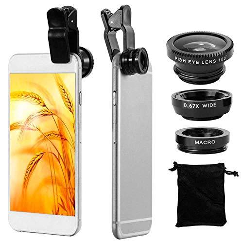 Ociodual 3in1 Objektiv Makro Weitwinkel Fischauge Linse Lens für Handy Smartphone Schwarz
