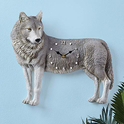 Realistic Wolf Shaped Wall Clock Lodge Cabin Southwest Home Decor