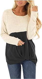 OULSEN Women Splice Blouse Autumn Fashion Loose Casual Long Sleeve T Shirts Twist Knot Tunics Top Blouse