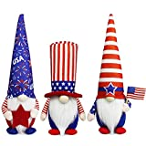 Tifeson 4th of July Patriotic Gnome Plush Elf Decorations - 3PCS Handmade Gnomes Plush American Stars and Stripes Scandinavian Tomte - Fourth of July Veterans Day Gift, Independence Day Table Ornament