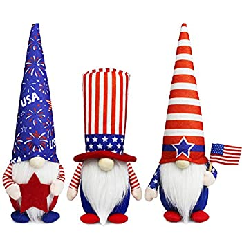Tifeson 4th of July Patriotic Gnome Plush Elf Decorations - 3PCS Handmade Gnomes Plush American Stars and Stripes Scandinavian Tomte - Fourth of July Veterans Day Gift Independence Day Table Ornament