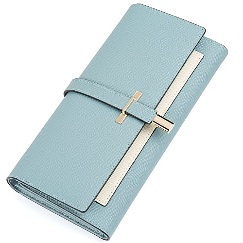 Leather Wallet for Women Slim Clutch Purse Long Designer Trifold Ladies Credit Card Holder Organizer Light Blue