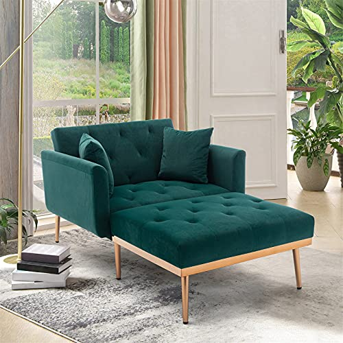 Velvet 2 in 1 Chaise Lounge Chair Indoor, Modern Single Sofa Bed with Two Pillows, Recliner Chair with 3 Adjustable Angles, Convertible Sleeper Chair for Living Room and Bedroom (Green)