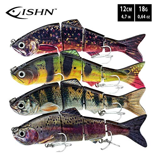 FISHN Bait Candy Set, Länge: 12 cm/15 cm, Gewicht: 18/35 Gramm, Swimbait Kunstköder/Angelköder/Wobbler zum Angeln auf Raubfische wie Hecht, Barsch, Forelle (4X) (Set 12cm (4X))