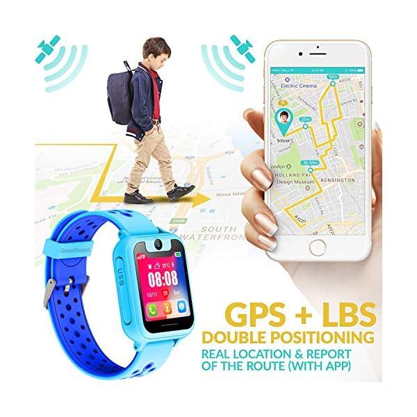 PTHTECHUS Telefono Reloj Inteligente LBS Niños - Smartwatch con Localizador LBS Juegos Despertador Camara Linterna per… 3