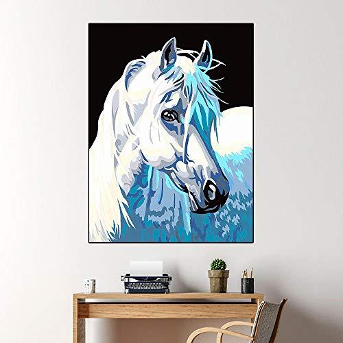 SADHAF Hd Print White Horse Animal Painting Canvas Painting para niños Decoración del hogar Escalera de pared Sala de estar Mural decorativo A1 30x40cm