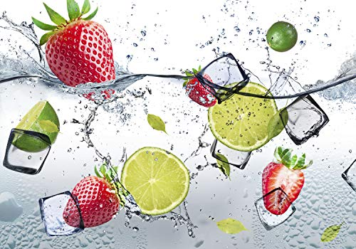 decomonkey Fototapete selbstklebend Küche Obst 343x256 cm XL Selbstklebende Tapeten Wand Fototapeten Tapete Wandtapete klebend Klebefolie Zitrone Erdbeere Wasser Eis
