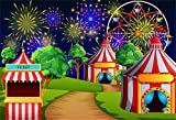 Laeacco Cartoon Circus Theme Backdrop 10x6.5ft Vinyl Circus Nightscape Tents Ticket Office Winding Road Dreamlike Ferris Wheel Fireworks Background Baby Birthday Party Banner Kids Child Baby Shoot