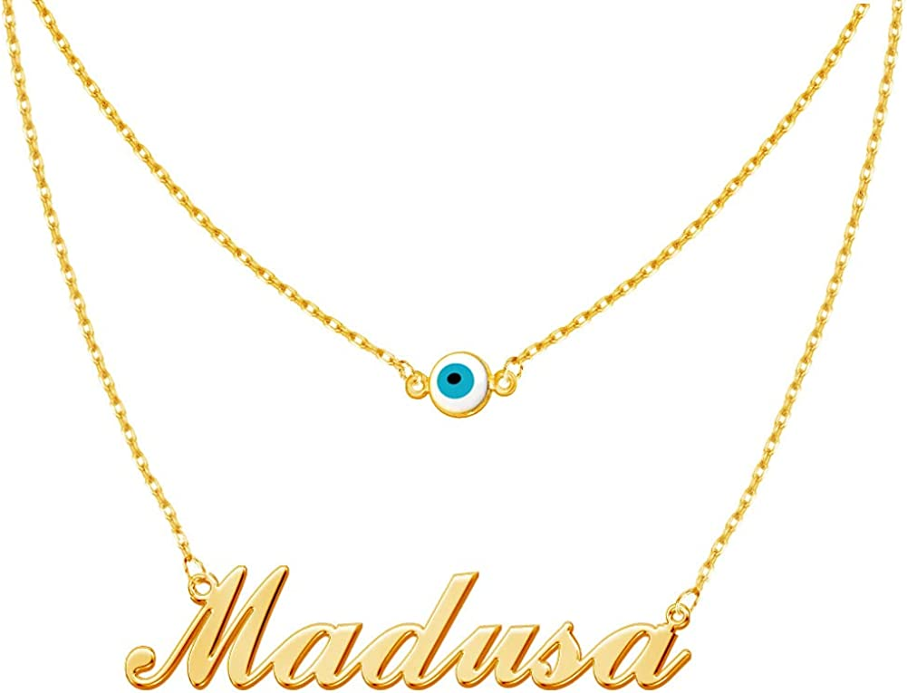 Personalized Layered Evil Eye Necklace with Gold 18K Phoenix Mall P Ranking TOP20 Name Real