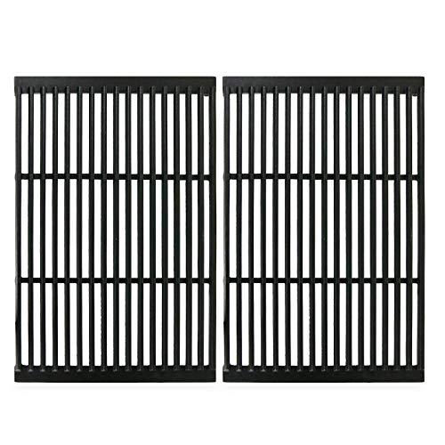 Hisencn Matte Cast Iron Cooking Grate 19' x 12.5' Replacement for Charbroil, Brinkmann, Charmglow, Broil-Mate, Grill Pro, Grill Zone, Sterling, Turbo, Grill Chef Grill Grid Set of 2