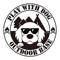 FJCRAFT オリジナル犬ステッカー 「DOG ON BOARD」 「PLAY WITH DOG OUTDOOR BASE」 犬 ステッカー カッティングステッカー シール 愛犬 かわいい かっこいい おしゃれ 車 バイク アウトドア 耐水 耐候(ホワイト) (ホワイト「PLAY WITH BOG OUTDOOR BASE」, ②ゴールデンレトリバー:S)