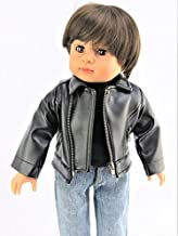 American Fashion World Black Leather Jacket Made for 18-inch Dolls fits 18-inch American Dolls and More