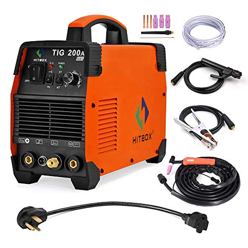 HITBOX 110V/220V Tig Welder 200A Dual Voltage Arc D/C Stick MMA Inverter IGBT Digital Welding Machine - 60% Ducty Cycle High Frequency Digital Control (Model: TIG 200A)