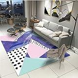 MEICHENG-DZ Weich Blau, rosa, weiß Hauptdekor Teppich Wohnzimmer Sofa Schlafzimmer Nacht Flur Arbeitszimmer allgemeinen Teppich Vorleger gemütlich (Color : Multicolor Geometry, Size : 50 * 80cm)