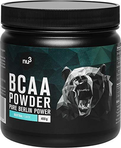 nu3 BCAA en polvo - 400g powder sabor neutral - 40 porciones de aminoácidos ramificados - Proporción óptima de leucina, isoleucina y valina en 2:1:1 - Suplemento deportivo - Nutrición deportiva vegana