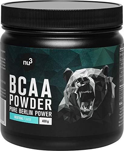 nu3 BCAA Powder Unflavored - 400 g di polvere di BCAA - con un rapporto aminoacidico ottimale di 2:1:1 - per la costruzione muscolare, la conservazione e il cardio-training - Vegano