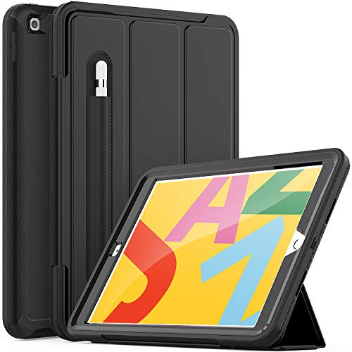 SEYMCY iPad Case 8th/7th Generation, iPad 10.2 Case 2020/2019, Heavy Duty Shockproof iPad Smart Cover with Pencil Holder, Sturdy Folio Stand Case fit 10.2 inch iPad 8th Gen 2020/7th Gen 2019, Black