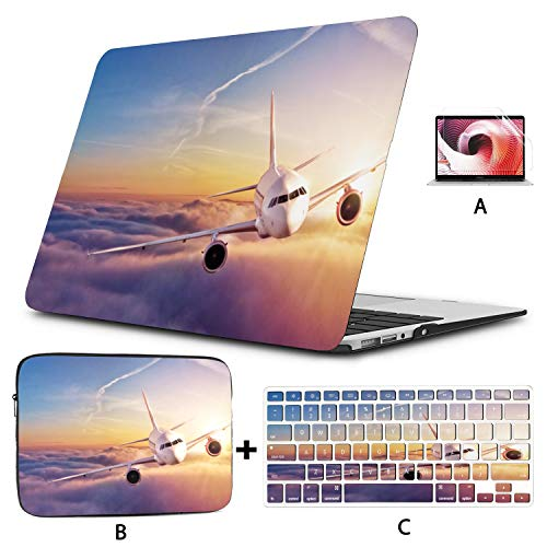 Air Case Airplane in The Sky at Sunrise MacBook Pro A1989 Case Hard Shell Mac Air 11'/13' Pro 13'/15'/16' with Notebook Sleeve Bag for MacBook 2008-2020 Version