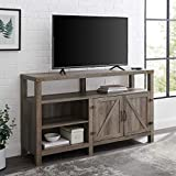 Walker Edison Georgetown Modern Farmhouse Double Barn Door Highboy Storage TV Stand for TVs up to 65 Inches, 58 Inch, Grey Wash