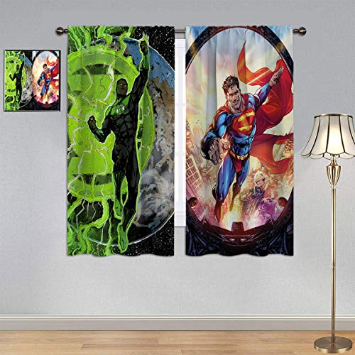 ARYAGO Cortinas opacas para niños con linterna verde y Superman, cortinas de película de la Liga de la Justicia de Superhéroes de tela para la habitación de los niños de 153 x 182 cm