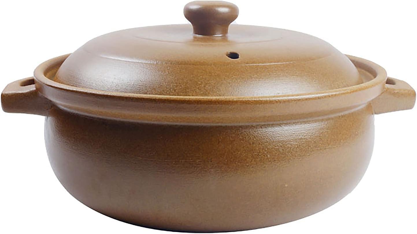 WLALLSS Stewpot, Tostador tarros cerámica cerámica Japonesa, sin Esmalte, Olla Caliente Resistente al Calor, cocinar Mujeres Embarazadas, Color marrón Claro, 31 x 18 cm (12 x 7 Pulgadas)