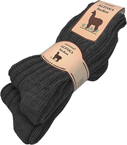 normani 2 Paar Sehr Warme weiche Söckchen mit Alpaka Wolle/Bettsocken/Sauna Socken Farbe Anthrazit Größe 39/42