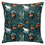 Funda de almohada, diseño de noche canadiense a escala más pequeña, funda de cojín moderna, cuadrada, decoración de piilloase para sofá, cama, silla, coche, 45,7 x 45,7 cm