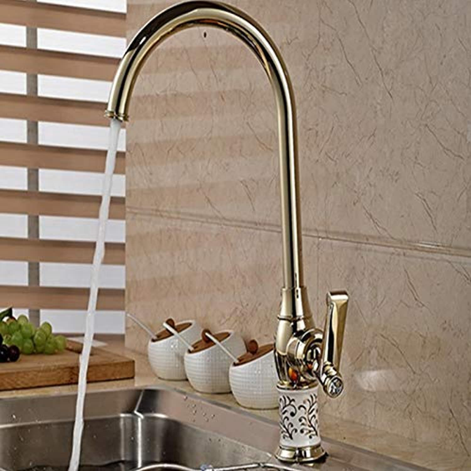 Oudan Wholesale and Retail Modern golden Kitchen Tap Swivel Spout Ceramic Style Sinks Mounted Mixer Deck (color   -, Size   -)
