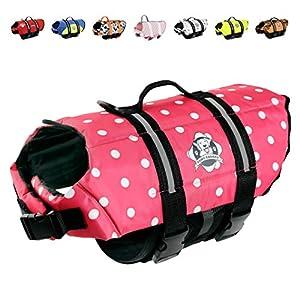Paws Aboard Dog Life Jacket, Neoprene Dog Life Vest for Swimming and Boating – Pink Polka Dot
