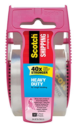Scotch Heavy Duty Shipping Packaging Tape, 1 Roll with Pink Dispenser, 1.88