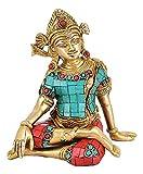 White Whale Brass Sitting God Indra Dev Brass Statue Home Decor Figurine