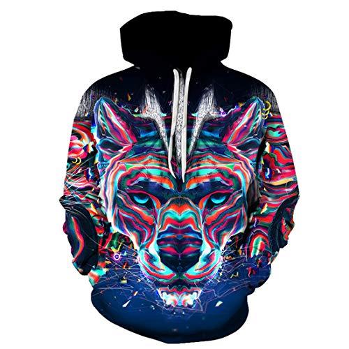 fdgd Nueva Sudadera con Capucha de Cabeza de Lobo Impresa Pintada en 3D Camisas de béisbol Personalizadas de Graffiti para Hombres y Mujeres Sudaderas con Capucha, como se Muestra, M