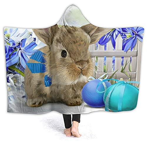 Manta con capucha – Manta de forro polar con capucha de conejo de Pascua, mantas súper suaves y cálidas de 152 x 127 cm