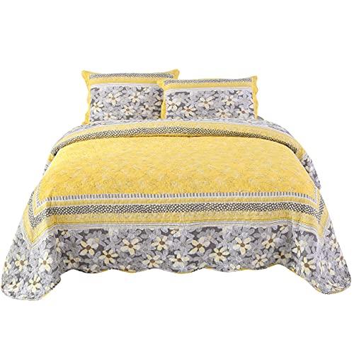 BASHANG Colcha Acolchada Rey Tamaño de 3 Piezas Flores Amarillas de algodón Patchwork Quilts Capacidad de Lanzamiento con 2 Almohadas Juego de Cama Algodon
