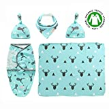 Premium Set of 5Pcs - Adjustable Infant Baby Wrap (Sleeping Bag with Hat) + Newborn Baby Swaddle Blanket with Hat + Baby Bandana Drool Bib for Drooling and Teething - Receiving Blanket, Burp Cloth