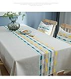 Mantel, Algodón, Lino, Impermeable, Rayas De Colores, Bordado, Rectángulo 135*220CM Rayas Bordadas en Amarillo Azul
