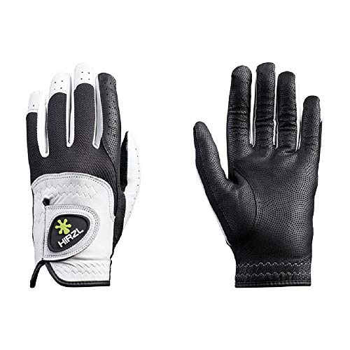 HIRZL Trust Control 2.0 Golf Gloves, All Weather Mens Golf Glove, White/Black, Kangaroo Leather Palm, Cabretta Leather Backhand, Trusted by Pro's, Sweat Free, Ultimate Grip,Cadet ML, Worn on Left Hand