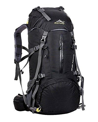 hwjianfeng Homme et Femme 45 + 5 L Outdoor randonnée Camping Voyage sac à dos de randonnée noir