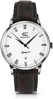 Gelfand & Co. Unisex Minimalist Watch Brown Crocodile Leather Washington 36mm Silver White Dial