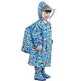 Emfay キッズ レインコート 子供用 ランドセル対応 通園 通学 雨具 男の子 女の子 収納ポーチ付き (M, 車柄)