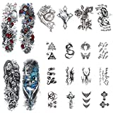 Scettar 20PCS Tattoo Stickers Scettar Including 4PCS Full Arm Temporary Tattoos 4PCS Middle Size Temporary Tattoo 12 PCS Small Size Body Tattoos for Women for Man and Kids (A)