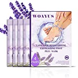 Foot Peel Mask, 4 Pack Exfoliating Foot Peeling Spa Masks for Dead Skin and Calluses, Baby Soft Smooth Feet Care For Men and Women (Lavender)