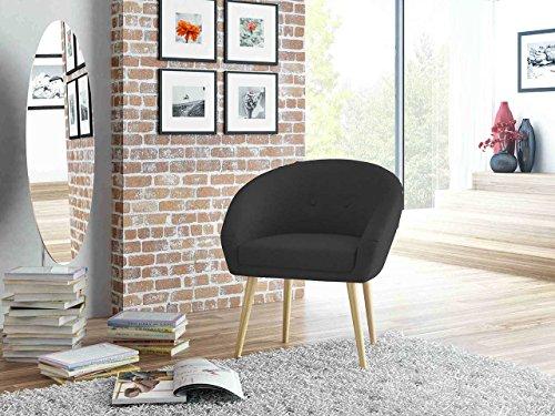 lifestyle4living Loungestuhl in Schwarz mit Bezug aus Webstoff | Stuhl hat Holzfüße