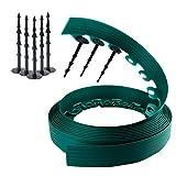 Bordura per aiuole Verde | Chrispol System | lunghezza 10 metri, altezza 6 centimetri | bordi per aiuole flessibile | bordura per giardino plastica + 60 chiodi di fissaggio