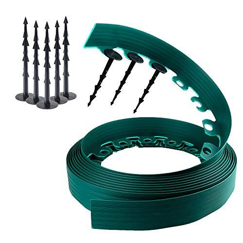 Chrispol System Beetumrandung Grün 10m lang 6cm hoch Rasenkante rund aus flexiblem Kunststoff mit 60 Befestigungsnägel