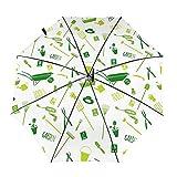 Jardín Herramientas de viaje verde paraguas plegable portátil compacto ligero diseño automático y alta resistencia al viento
