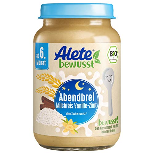 Alete Bio Gläschen Abendbrei Milchreis Vanille-Zimt, Babynahrung in Bio-Qualität, ohne Palmöl & Zuckerzusatz, ab dem 6. Monat, 6er Pack (6 x 190 g)