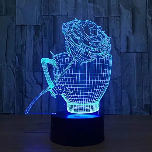 Mooie rozen beker 3D-lamp bedlampje, nachtlampje voor de kinderkamer, led-lamp voor de woonkamer perfect cadeau voor kinderen