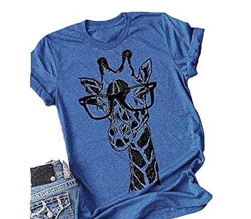 SLYZ Blusa De Camiseta Estampada De Manga Corta con Cuello Redondo Y Jirafa De Ocio De Verano para Mujeres Europeas Y Americanas